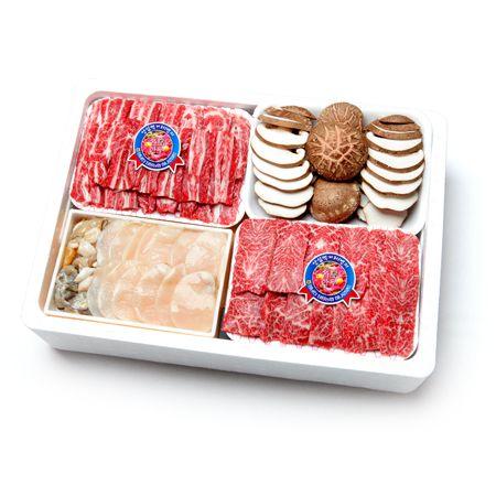 삼합 프리미엄 암소 한우 구이 선물세트 1kg(살치살400g+갈비살400g+키조개(관자)3알+생표고버섯200g/1+등급)