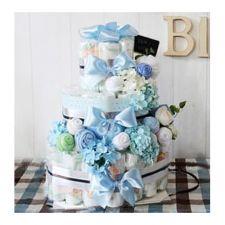 기저귀케이크 3단 - 블루&그린 (남아)
