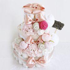 기저귀케이크 3단 핑크 (여아)