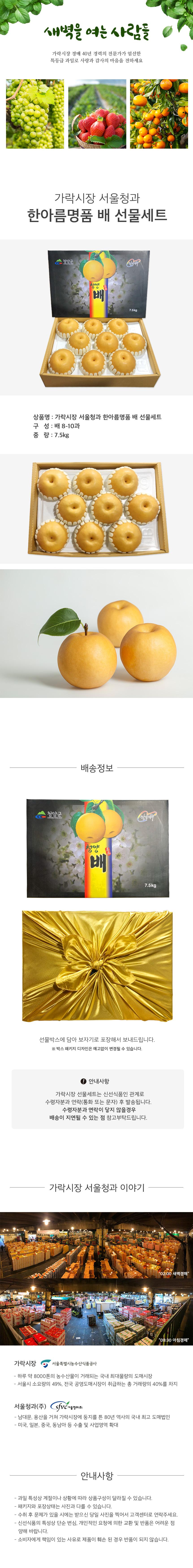 가락시장 서울청과 한아름명품 배 선물세트 7.5kg (배 8-10과)