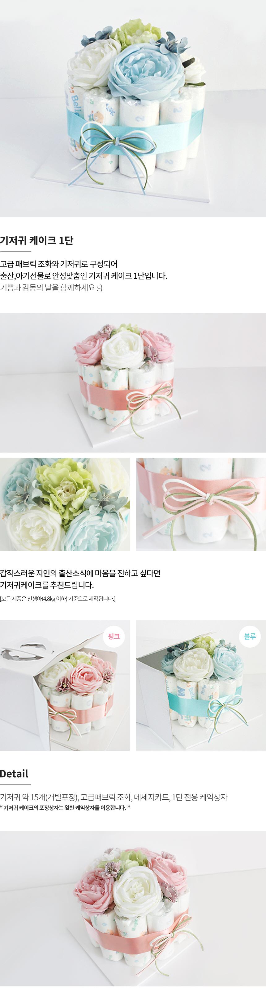 기저귀케이크 1단 블루&그린 (남아)